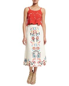 Alanis Sleeveless Rose Crop Top & Giselle Embroidered Midi Skirt by Alice + Olivia at Neiman Marcus.