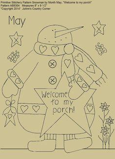 "Primitive Stitchery E-Pattern Snowman by Month May, ""Welcome to my porch!"" : Primitive Stitchery E-Pattern Snowman by by JoAnnCountryCorner Primitive Embroidery Patterns, Wool Applique Patterns, Primitive Stitchery, Quilt Patterns, Embroidery Designs, Halloween Embroidery, Christmas Embroidery, Cross Stitch Embroidery, Hand Embroidery"