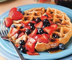 Multigrain Blueberry Waffles  Just like the waffles Mom used to make—but better for your heart! These multigrain waffles are high in fiber and low in fat. Perfect for a nice Sunday brunch.