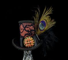 Black Lace over Copper Peacock Mini Top Hat by TheWeeHatter