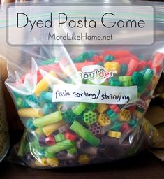 Dyed Pasta Busy Bag Dyed Pasta Game - Stringing and Sorting (by color, size, type, etc) Source by Activities For 2 Year Olds, Pre K Activities, Sensory Activities, Hands On Activities, Infant Activities, Educational Activities, Preschool Activities, Sensory Play, Sorting Games