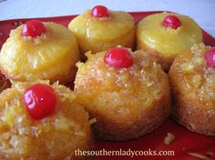 Pineapple Upside Down Cupcakes  1 box Pillsbury Moist Supreme Classic Yellow Cake Mix with pudding in the mix  1 (3.4 ounce) Vanilla Instant Pudding  3 eggs  1/3 cup oil  2/3 cup pineapple juice  1/3 cup milk  1 (8 ounce) can pineapple slices, drained (save juice)  1 (8 ounce) can crushed pineapple, drained (save juice)  Topping  1 stick butter, melted  1 cup brown sugar  Maraschino cherries