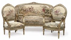 A FRENCH GILTWOOD AND AUBUSSON THREE-PIECE SALON SUITE
