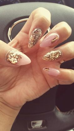 Soft Pink, rose gold, gold and bronze nails. Stiletto style. Glitter and pastel color combination. Winter nails, formal nails, Christmas nails, New Years nails. Fancy nails, classy nails.