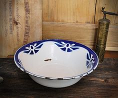 Enamel bowl whiteblue cobalt blue pattern by linenandwood on Etsy, €30.00