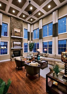 Dream Living Room Design In Rustic Style With Exposed: Dream Living Room For Dream Loft Space Cozy Living Rooms, My Living Room, Home And Living, Living Area, High Ceiling Living Room, Luxury Living, Decoration, My Dream Home, Great Rooms