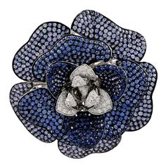 Sapphire Diamond Gold Flower Brooch | From a unique collection of vintage brooches at https://www.1stdibs.com/jewelry/brooches/brooches/