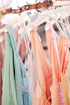 Gorgeous Pastel bridesmaids dresses - love the mix and match
