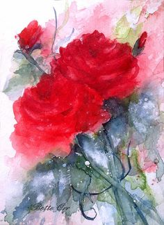 """""""Roses are Red"""" transparent watercolor by Bette Orr..... www.betteorr.com"""