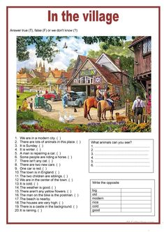 Picture description - In the village worksheet - Free ESL printable worksheets made by teachers English Exam, English Story, English Fun, English Lessons, Learn English, English Worksheets For Kids, 2nd Grade Worksheets, English Activities, Printable Worksheets