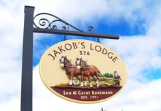 Jakob's Lodge property sign, by Danthonia Designs.