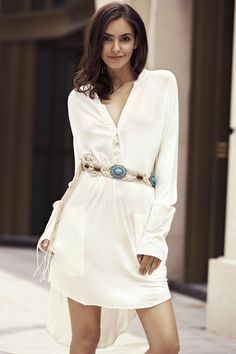 Solid Color High-Low Plunging Neck Long Sleeve Dress
