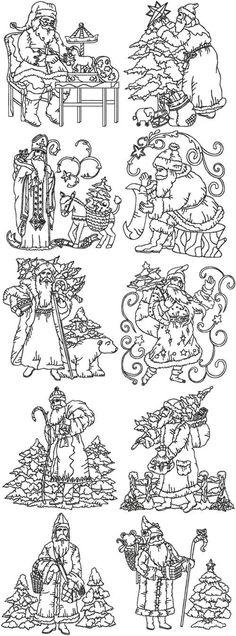 Advanced Embroidery Designs - Redwork Vintage Santa Set