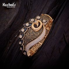 Trendy Design Peacock CZ Zircon Kada studded with White synthetic stones, with gold Polish. It Comes with Locking System. Jewelry Shop, Jewelry Design, Fashion Jewelry, Gold Jewelry, Jewellery, Gold Bangles Design, Gold Bangle Bracelet, Gold Bracelet For Women, Gold Bracelets