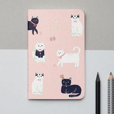Mossery Cats Pink Pocket Notebook