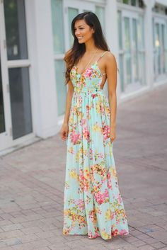 Mint Floral Maxi Dress with Open Back
