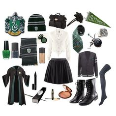 Slytherin Clothes, Hogwarts Uniform, Harry Potter Style, Harry Potter Outfits, School Girl Outfit, School Uniform Girls, Harry Potter Halloween Costumes, Cardigan Shirt, Tie Blouse