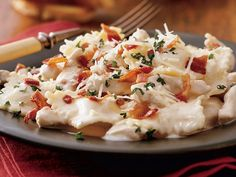 chicken and ravioli carbonara - great when you are craving creamy italian but want to stay healthy