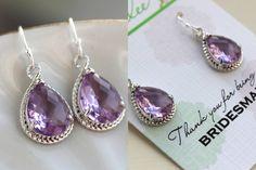 Silver Lavender Earrings Wedding Jewelry Purple by laaleebridal, $23.00