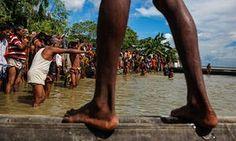 Guthail, Jamalpur, Bangladesh, where the river Yamuna's water level is 118cm over the danger line.
