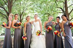 gorgeous grey bridesmaids dress.