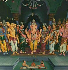Ganesha with ridhi and shidhi Baby Ganesha, Ganesha Art, Shri Ganesh, Krishna, Mysore Painting, Tanjore Painting, Lord Ganesha Paintings, Lord Shiva Painting, Hindu Deities