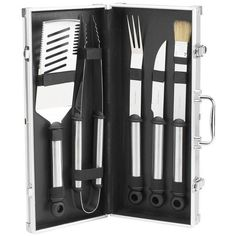 Picnic at Ascot B.b.q. 5 Piece Stainless Grill Tools Set In Aluminum... ($50) ❤ liked on Polyvore featuring home, kitchen & dining, kitchen gadgets & tools, sporting goods, barbecue set, barbeque tool set, stainless spatula, bbq basting brush and stainless forks