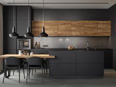 Design My Kitchen, Grey Kitchen Designs, Home Room Design, Home Decor Kitchen, Interior Design Kitchen, Kitchen Furniture, Home Kitchens, Kitchen Models, Cuisines Design