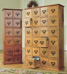 Loving the vintage library furniture right now. Retro-Style Wooden Multimedia Library File Cabinets traditional filing cabinets and carts
