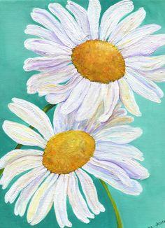White Shasta Daisy Painting on Aqua canvas by SharonFosterArt