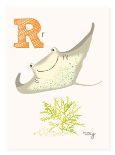 R is for Ray 5x7 art print nursery art for by SeaUrchinStudio, $4.50