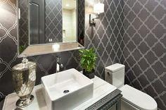 décoration de toilette design avec papier peint