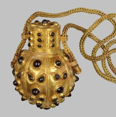 Amulet/Perfume Bottle With Wicker Beading  --  3rd-2nd Centuries BCE  --  Greek, Hellenistic  --  Gold, garnet & crysocolla: forging, stamping & encrustation