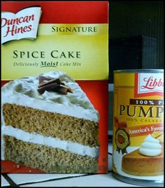 Two Ingredient Cake–Spice Cake Mix and Pumpkin Puree | Nosh My Way