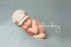 Oatmeal Tweed Newborn Newsboy Hat