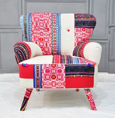 Thai Hmong patchwork armchair by namedesignstudio