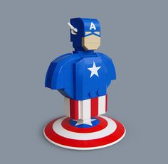 Lego Captain America Bust by Fredoichi, via Flickr