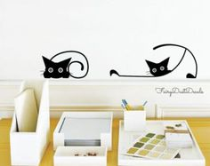Pussy Cat wall decal large sticker by wordybirdstudios on Etsy