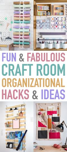 Fun and Fabulous Craft Room Organizational Hacks & Ideas that will totally inspire you to give your space a touch of stylish organization! Washi Tape Storage, Yarn Storage, Craft Storage, Tool Storage, Storage Ideas, Sewing Room Organization, Organization Hacks, Acrylic Paint Bottles, I Heart Organizing