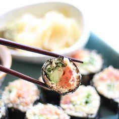Cauliflower Rice Spicy Tuna Rolls Recipe Appetizers, Lunch with cauliflower, olive oil, salt, sashimi grade tuna, mayonnaise, Sriracha, salt, cucumber, avocado, nori, gari, wasabi, coconut aminos