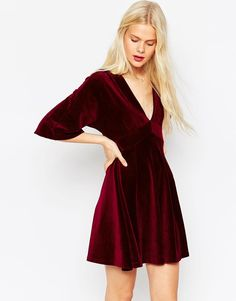 Image 1 of ASOS Skater Dress with Deep V in Fine Cord