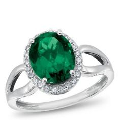 Sterling Silver, Lab-Created Emerald and Diamond Ring