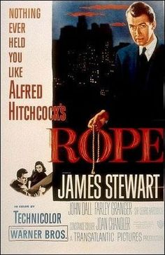 Alfred Hitchcock's  Rope  First of all it's a Hitchcock and Stewart film so that makes it awesome from the start, but what is so great about this movie is that you know from the very beginning who the murderer is and that the entire movie takes place in one setting - the murderer's home.