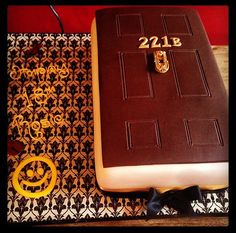 Awesome Sherlock cake - 221B. I could make ice cream sandwiches with the 221 and knocker