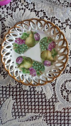Excited to share the latest addition to my #etsy shop: Vintage Lusterware Fan Crest, Plate Saucer 6 Inches, Fruits, Pears, Grapes, Apples, Intricate Cut Outs, Gold Trim, Victorian Lace Effect http://etsy.me/2EGCPVn #housewares #gold #housewarming #easter #pink #mothers