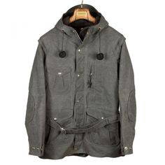 Mountain parka in grey waxed canvas with wool blanket lining