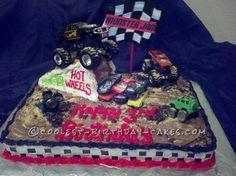 Coolest Monster Jam Cake... This website is the Pinterest of birthday cake ideas