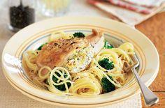 Lemon & thyme chicken with spaghetti