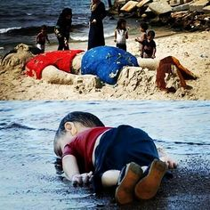 Palestinians paid tribute to the 3 year old Syrian boy who drowned while fleeing the Syrian war by building a sand sculpture of him #aylankurdi #love #tribute #sorryforhumanity