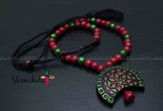 RED & METALLIC GREEN Terracotta jewelry - Handmade Jewelry - Long beaded chain with bold pendant.